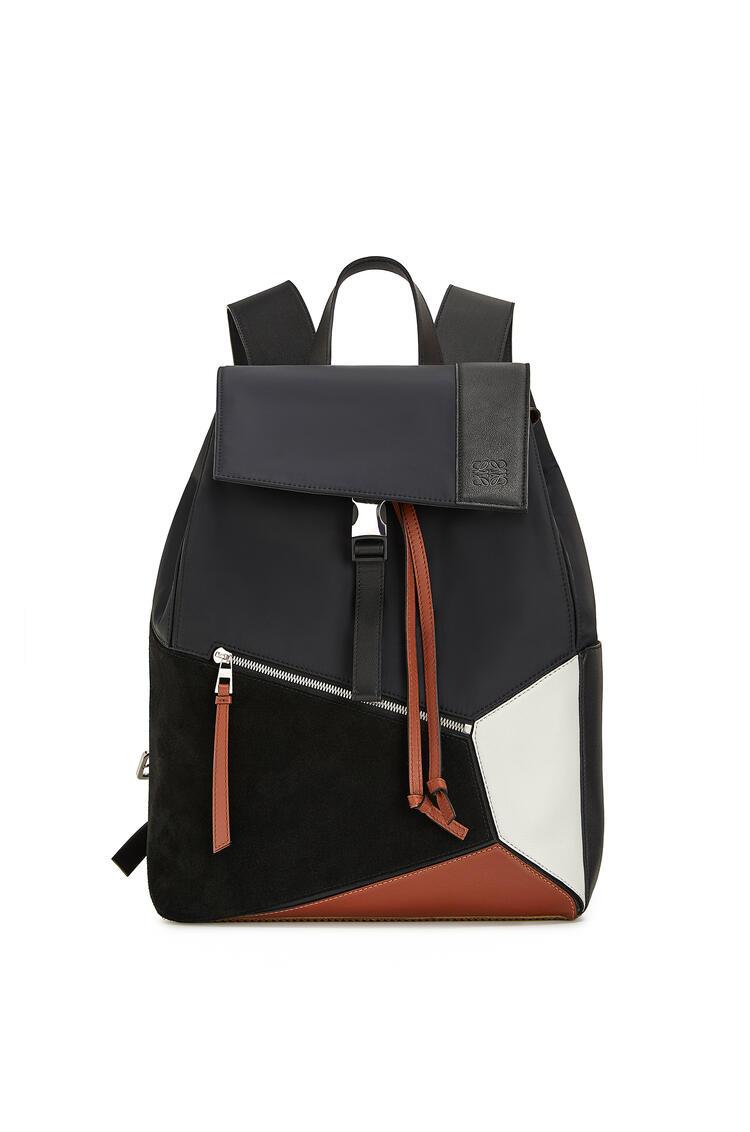 LOEWE Puzzle backpack in nylon and  calfskin Black/Tan pdp_rd