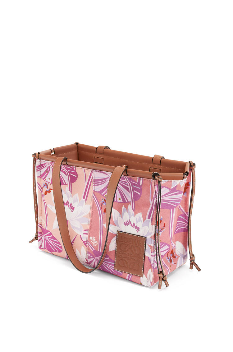 LOEWE Cushion Tote Small Bag In Waterlily Canvas And Calfskin Salmon/Pink pdp_rd