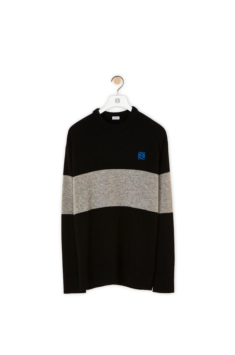 LOEWE Anagram embroidered sweater in striped wool Black/Grey pdp_rd