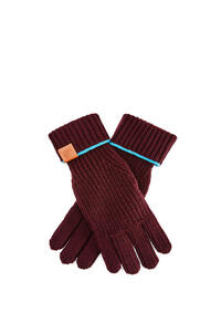 LOEWE Knitted gloves in wool Bordeaux pdp_rd