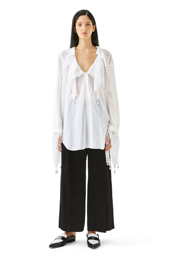 LOEWE Lace And Pearls Shirt Blanco front