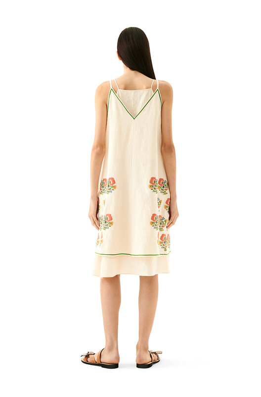 LOEWE Double Layer Dress Flower Emb Ecru front