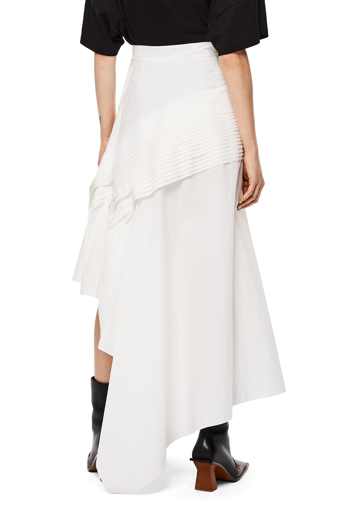 LOEWE Pleated Side Skirt White front