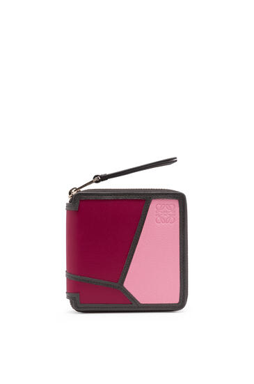 LOEWE Puzzle Square Zip Wallet In Classic Calfskin Wild Rose/Raspberry pdp_rd
