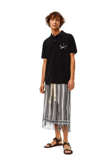 LOEWE Pantalón Corto De Algodón A Rayas Negro/Blanco front