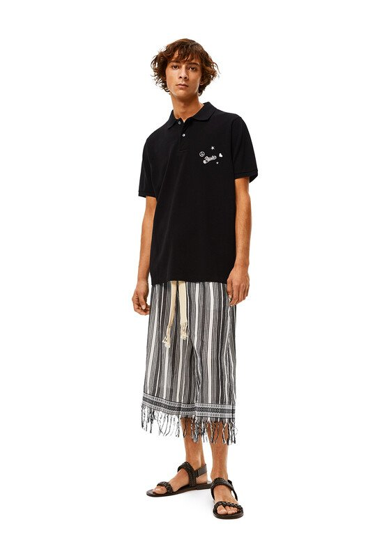 LOEWE Shorts In Striped Cotton Black/White front
