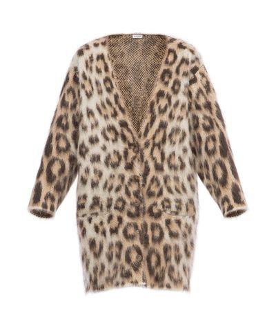 LOEWE Leopard Mohair Cardigan Light Beige/Multicolor front