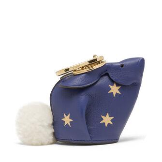 LOEWE Charm Conejo Estrellas Azul Royal/Oro front