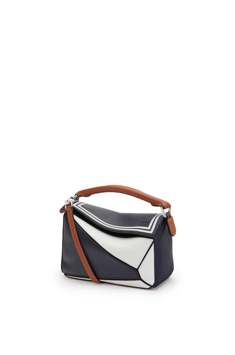 LOEWE Mini Sailor Puzzle Bag In Classic Calfskin Deep Blue/Soft White pdp_rd