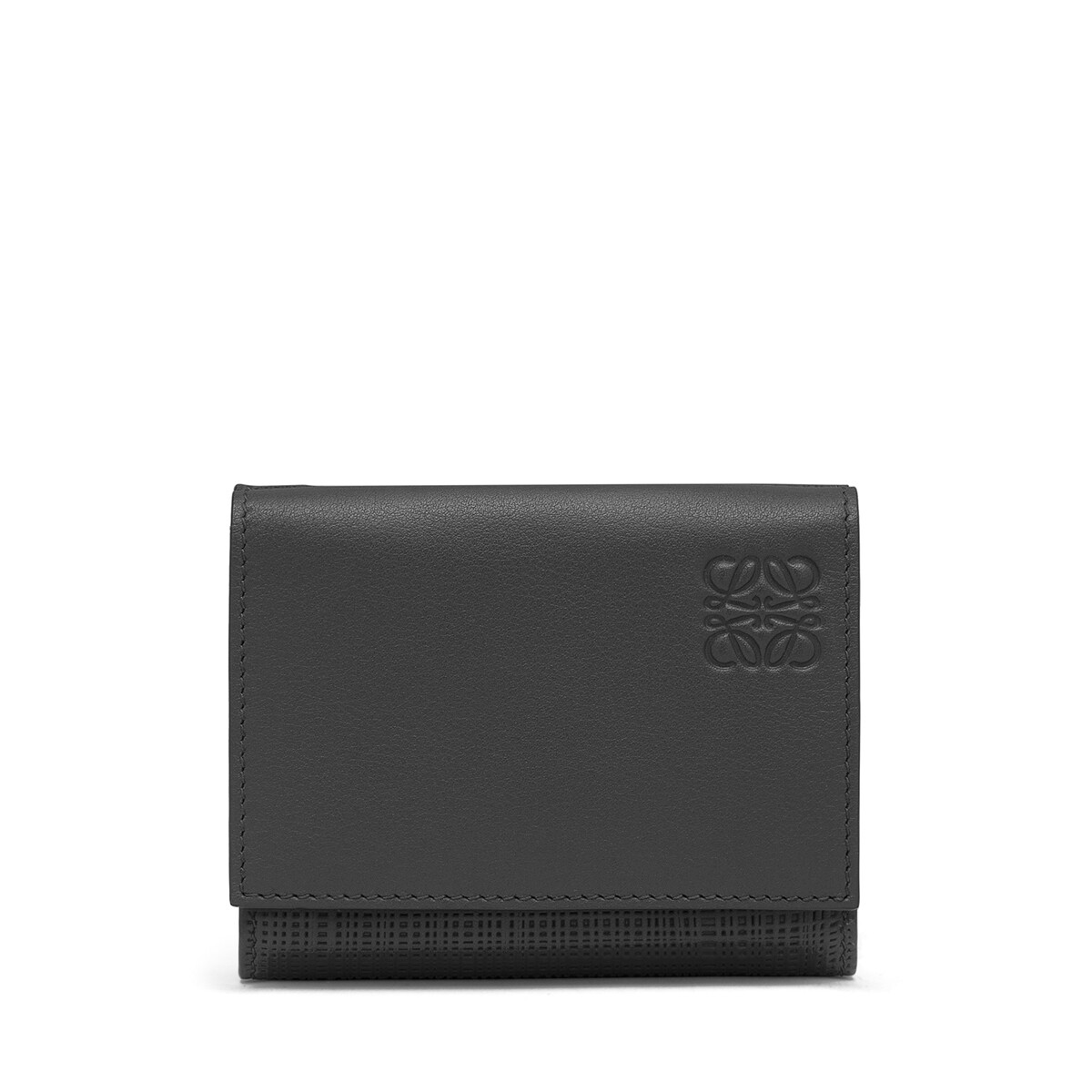 LOEWE Cartera Trifold Linen Negro front
