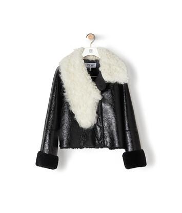 LOEWE Shearling Jacket Black/White front