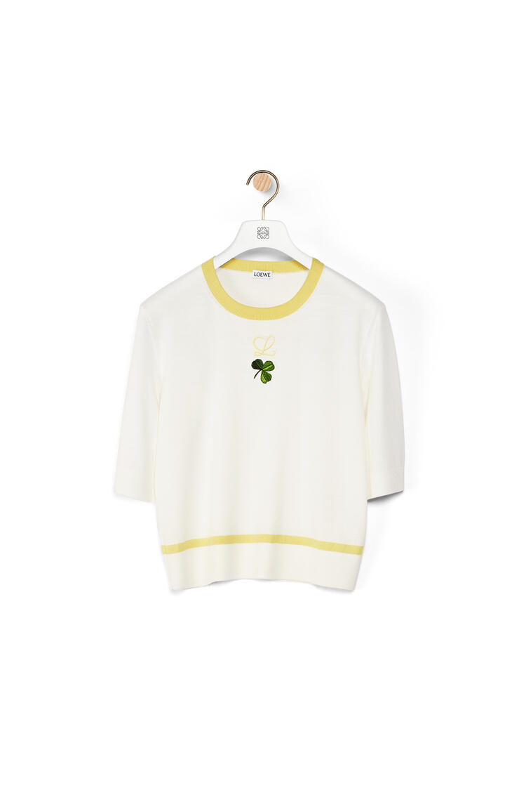 LOEWE Shamrock embroidered cropped sweater in wool Off-white pdp_rd