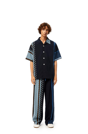 LOEWE Anagram embroidered bowling shirt in stripe cotton Navy Blue/Multicolor pdp_rd