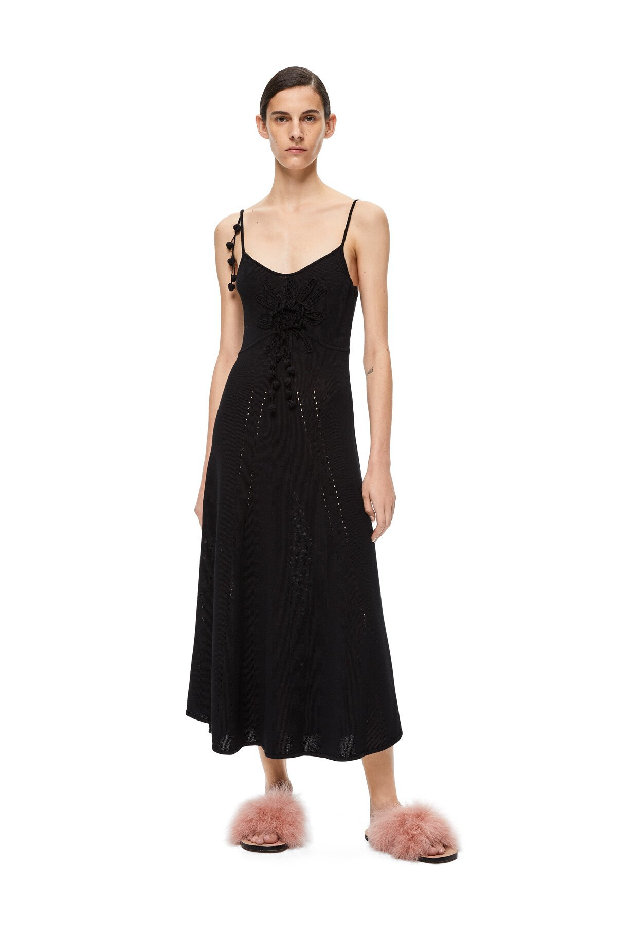 LOEWE Embroidered Knit Dress Negro front