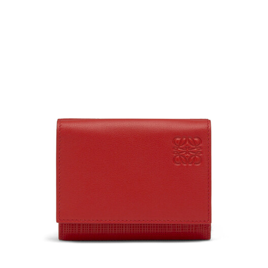 LOEWE Linen Trifold Wallet Scarlet Red front