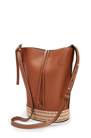 LOEWE Gate Bucket Bag In Soft Grained Calfskin And Raffia Tan front