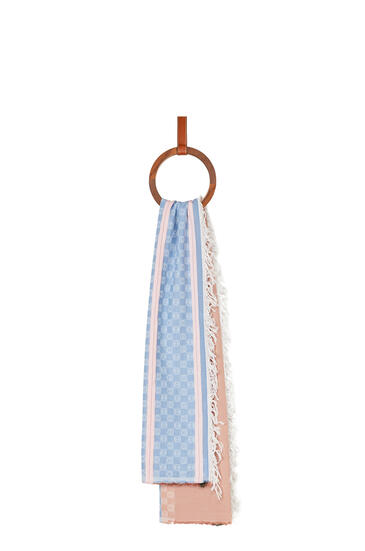 LOEWE Anagram scarf in cotton Pink/Blue pdp_rd