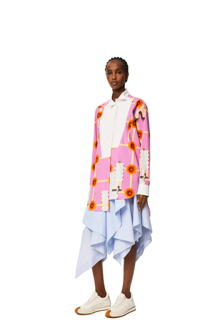 LOEWE Long asymmetric shirt in printed cotton Multicolor/White pdp_rd
