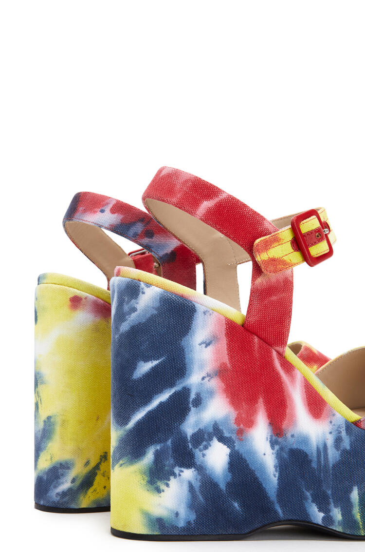 LOEWE Wedge sandal in tie dye canvas Multicolor pdp_rd