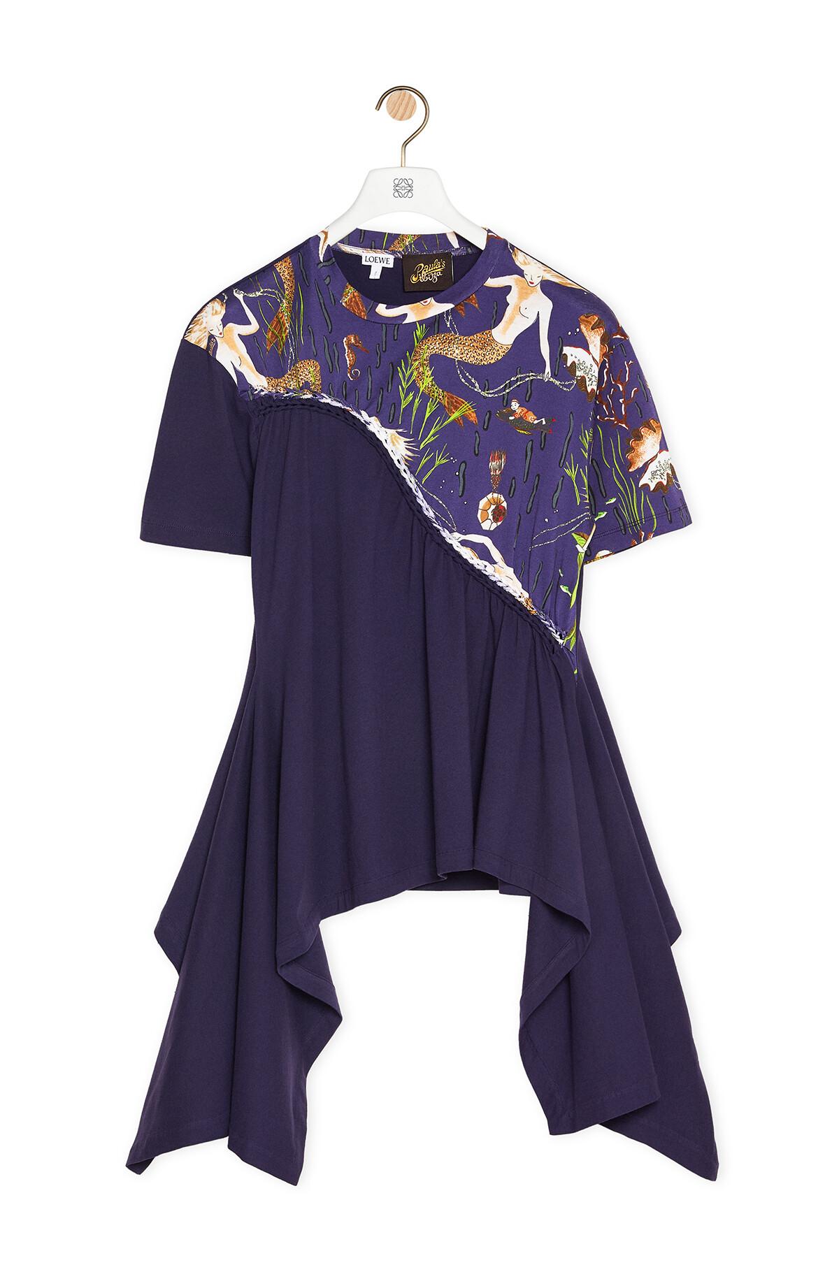 LOEWE Braided Asymmetrical T-Shirt In Mermaid Cotton Blue front