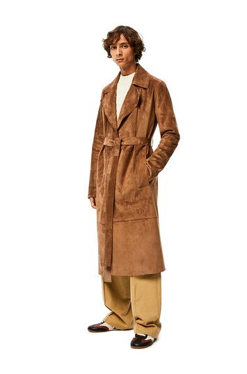 LOEWE Belted Coat 石灰色 front