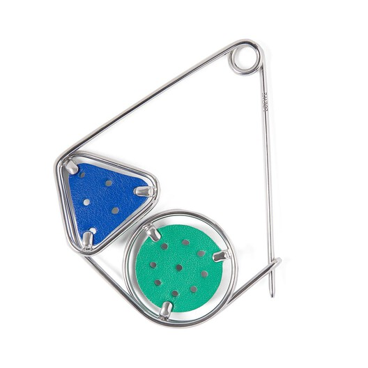 LOEWE Small Double Meccano Pin Green/Electric Blue/Palladium front