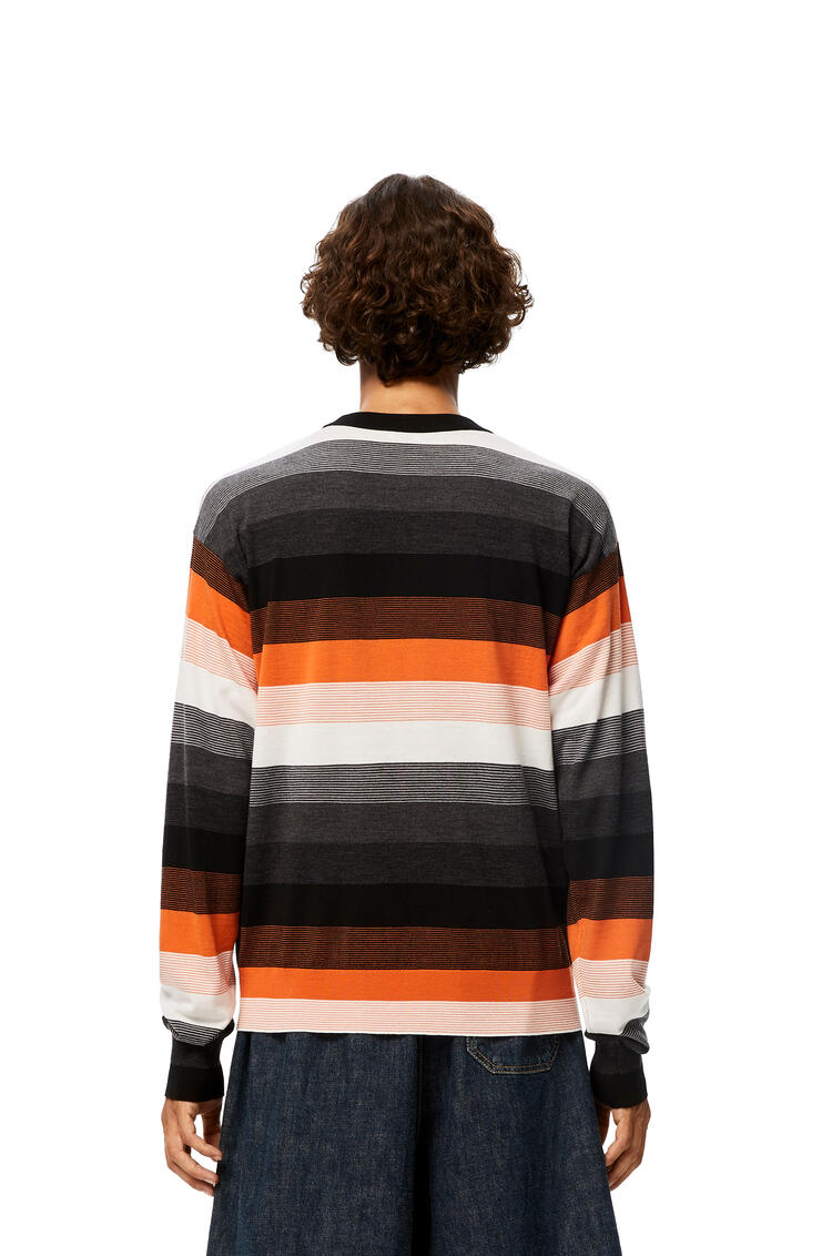 LOEWE Anagram embroidered sweater in stripe hemp 黑色/橘色 pdp_rd