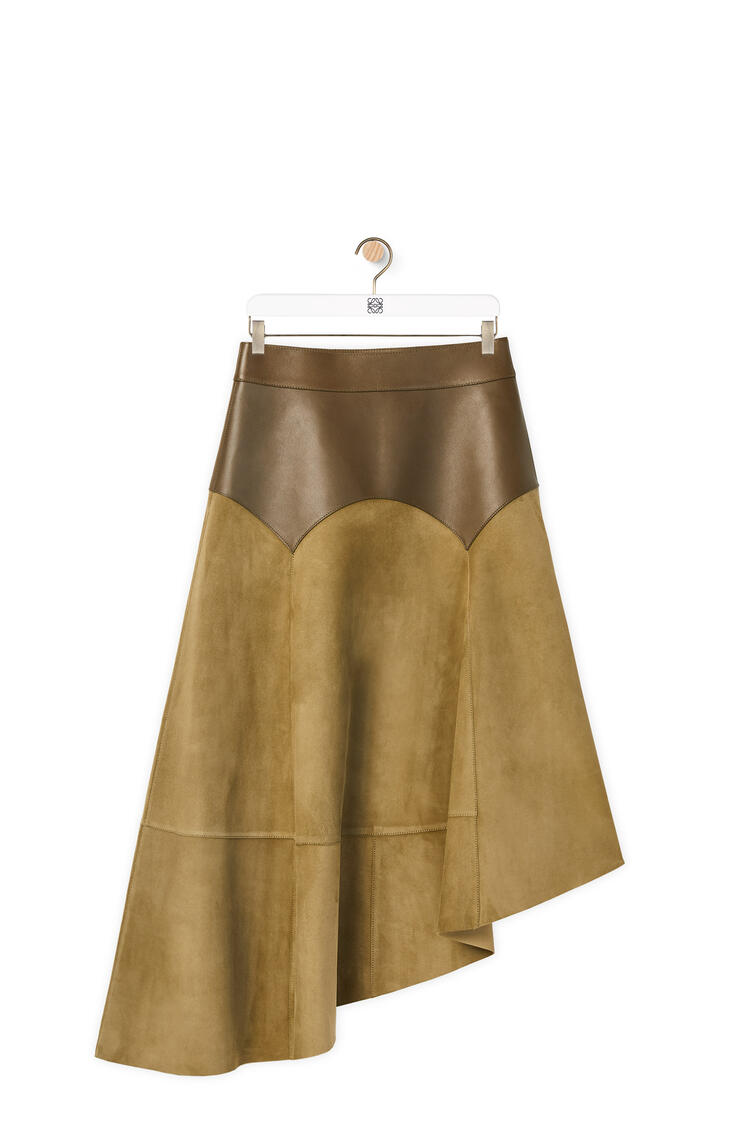 LOEWE Asymmetric obi skirt in suede and nappa Khaki Green pdp_rd