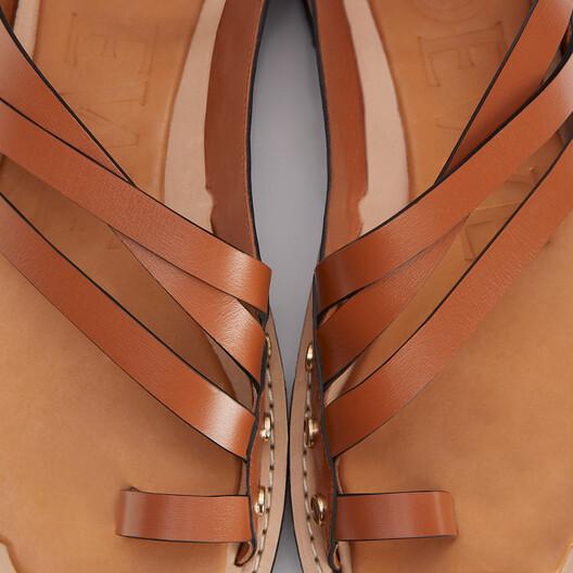 LOEWE Sandalia Con Suela Gruesa  En Piel De Ternera Bronceado front