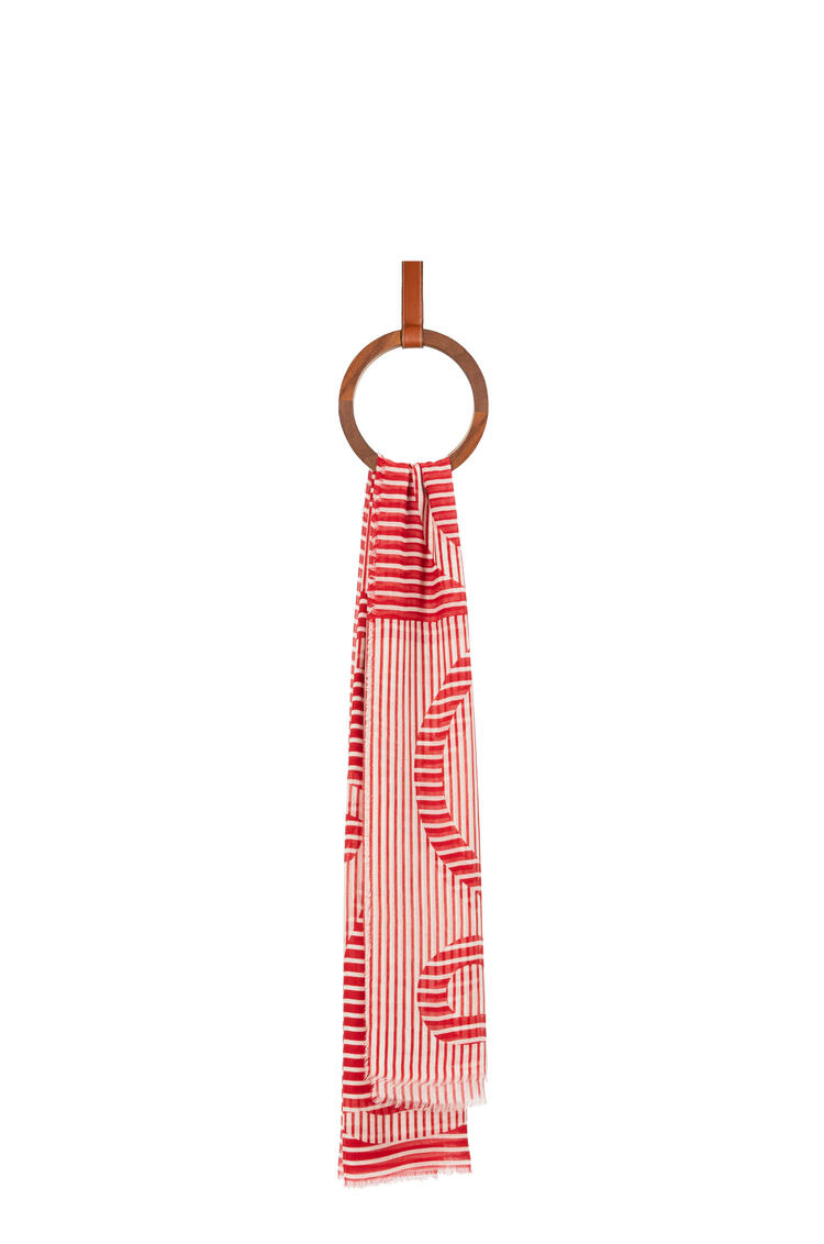 LOEWE Anagram stole in modal and linen Red/White pdp_rd
