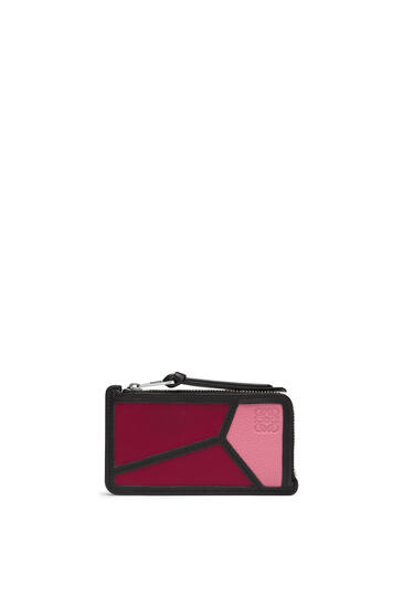 LOEWE Puzzle coin cardholder in classic calfskin Wild Rose/Raspberry pdp_rd