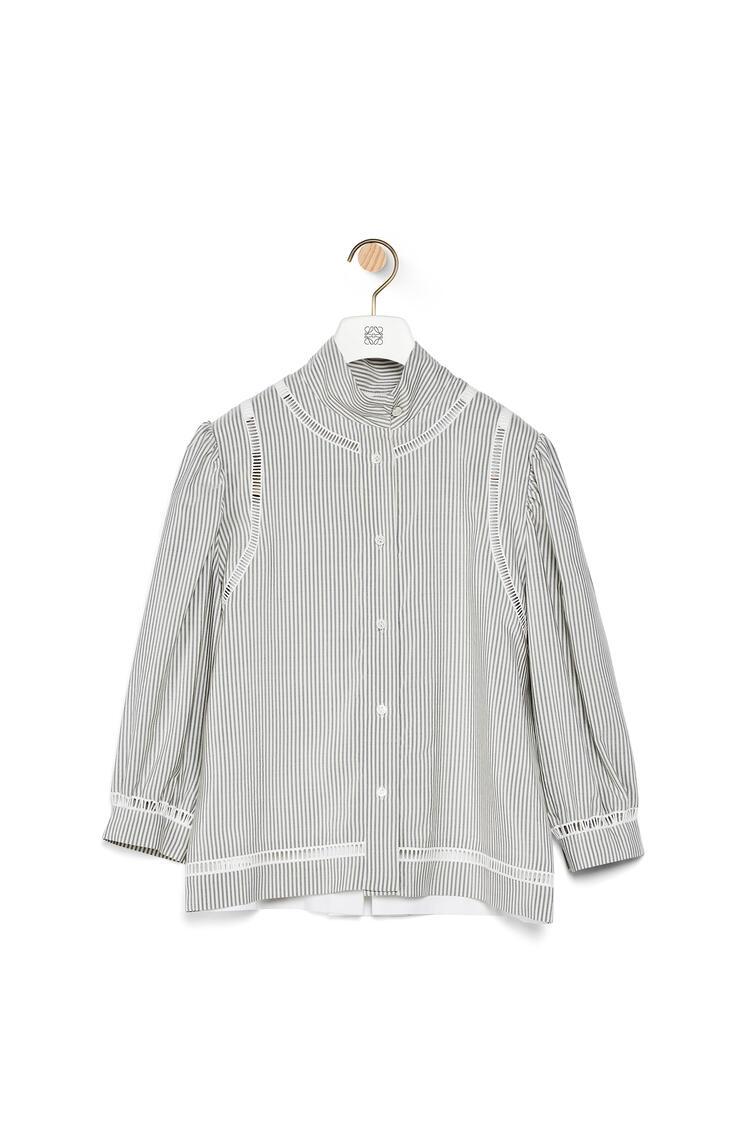 LOEWE Short blouse jour echelle in striped silk White/Blue pdp_rd