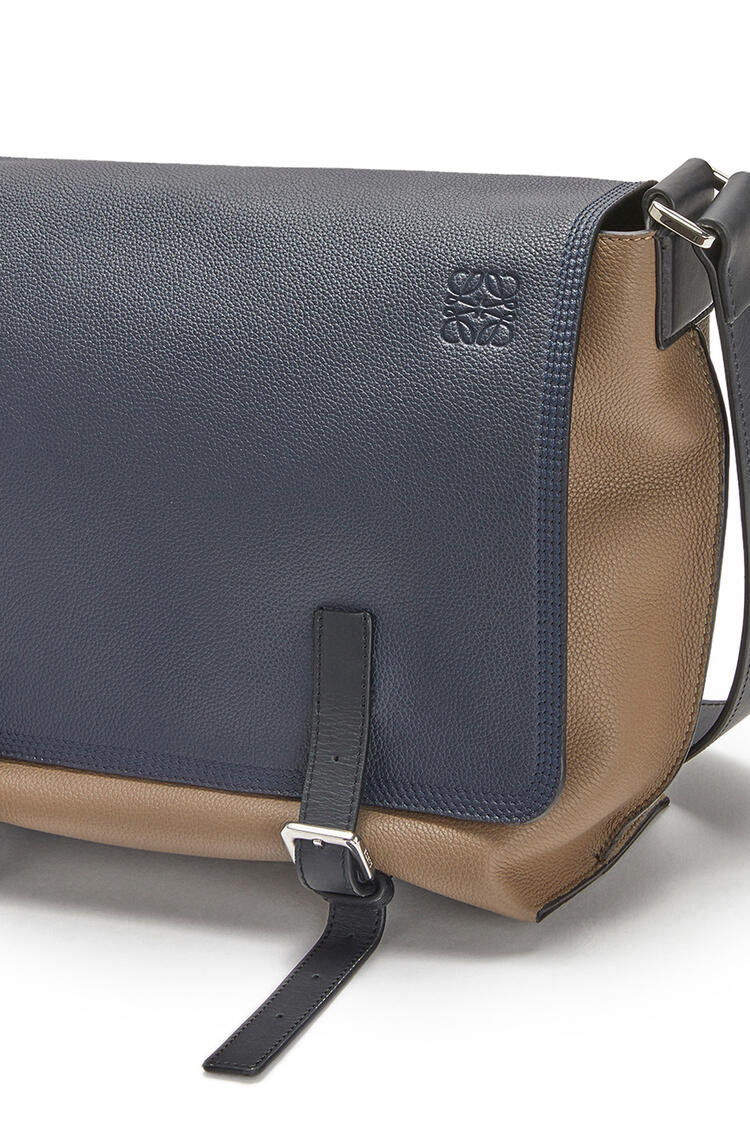 LOEWE Small Military Messenger Bag In Calfskin Deep Blue/Dark Taupe pdp_rd