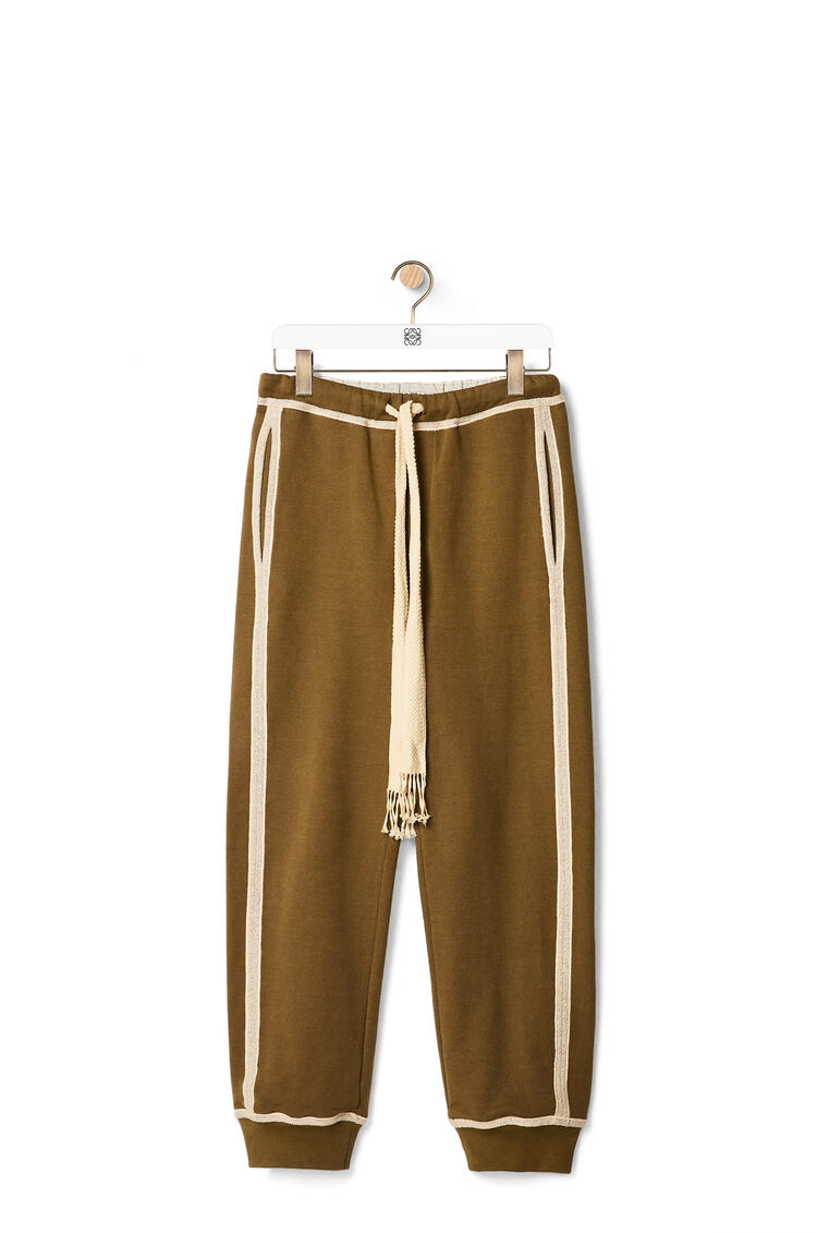 LOEWE Anagram embroidered track trousers in cotton Khaki Green/Ivory pdp_rd