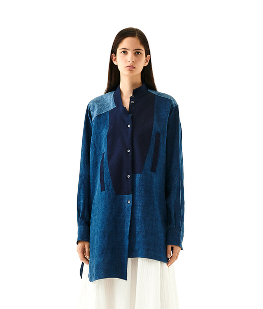 LOEWE Long Asymmetric Shirt Blue Multitone front