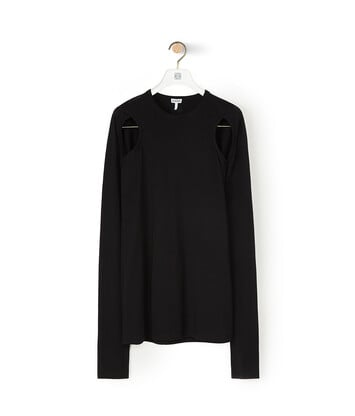 LOEWE Cut Out Long Slv T-Shirt Black front