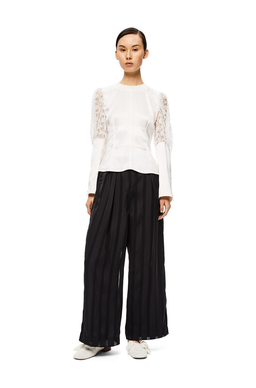 LOEWE Cropped Soft Trousers Black front