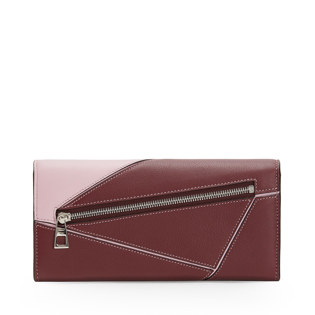 LOEWE Puzzle Continental Wallet Wine/Pastel Pink front