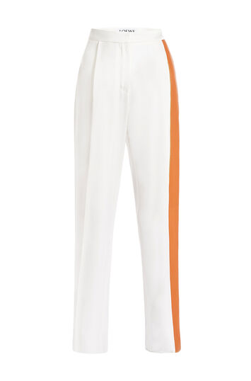 LOEWE Leather Deatail Trousers Blanco/Bronceado front