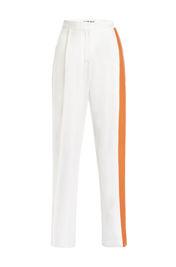 LOEWE Leather Deatail Trousers Blanco/Bronceado front