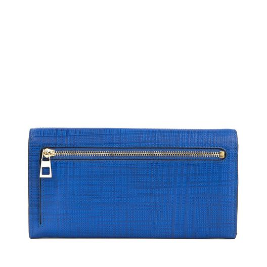 LOEWE Linen Continental Wallet Electric Blue front