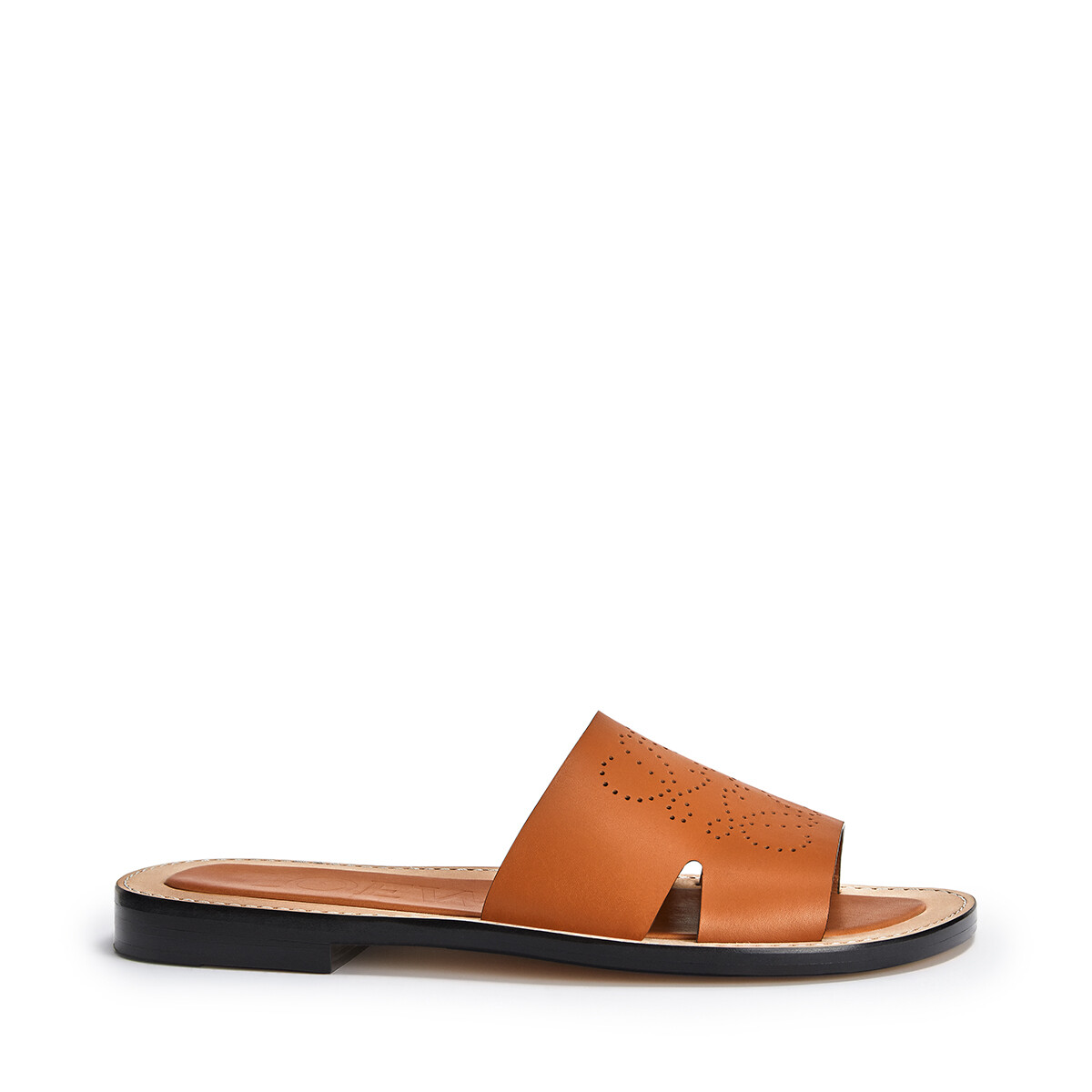 LOEWE Perforated Anagram Mule Light Caramel front