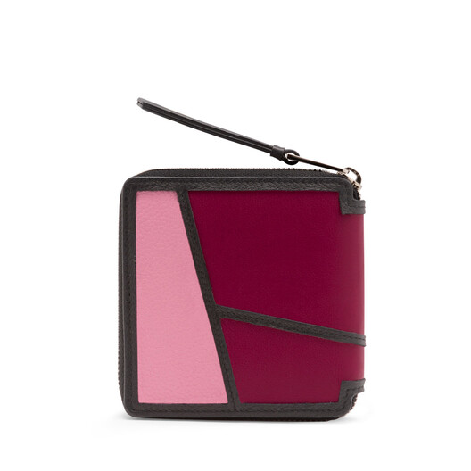 LOEWE Puzzle Square Zip Wallet Wild Rose/Raspberry front