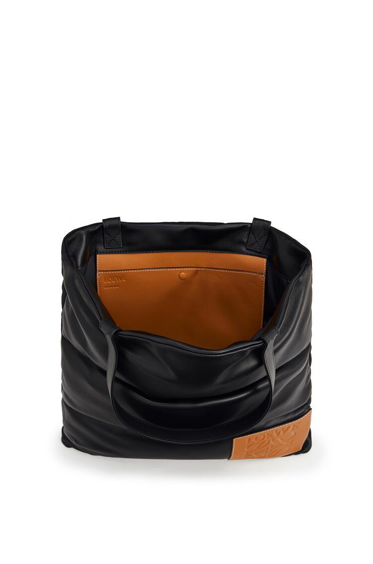 LOEWE 纳帕小牛皮和尼龙蓬松垂直 Tote 手袋 黑色 pdp_rd