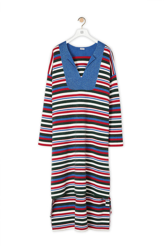 LOEWE Stripe Long Knit Top Marino/Rojo Oxido front