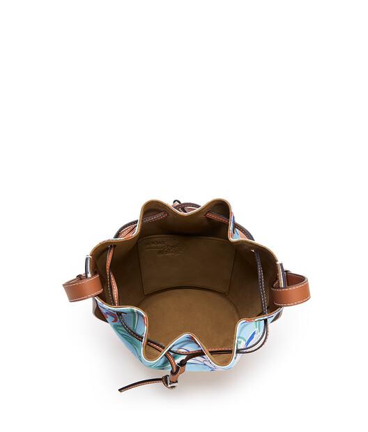 LOEWE バルーンバッグ スモール (ウォーターリリー キャンバス&カーフスキン) Aqua/Tan front