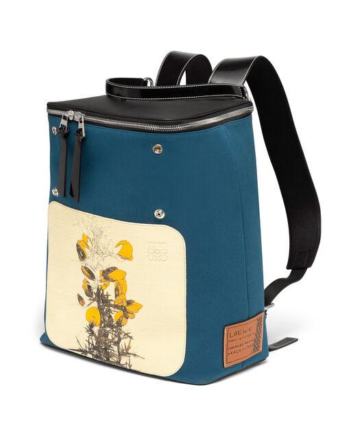 LOEWE Goya Botanical Backpack Petroleum Blue/Black front