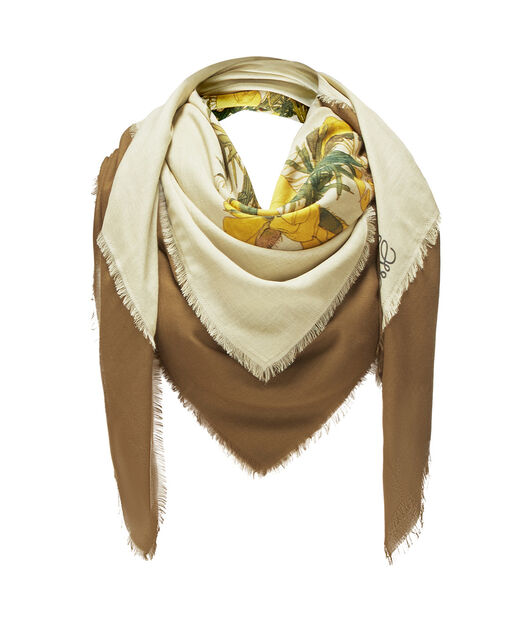 LOEWE 140X140 Scarf Botanical Yellow/Beige all