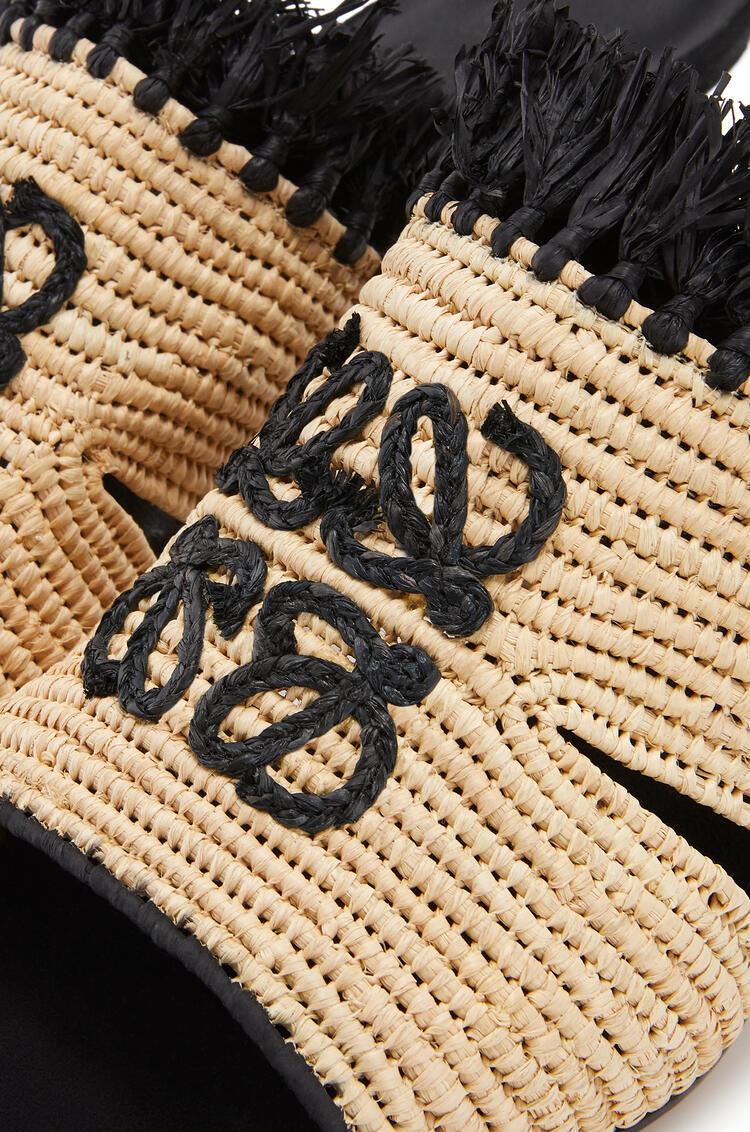 LOEWE Embroidered 70 mule in raffia Natural/Black pdp_rd