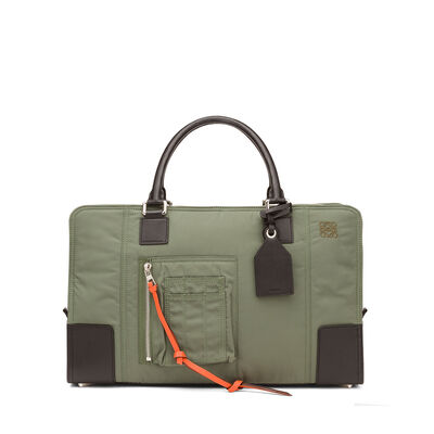 LOEWE Amazona 44 Bomber Bag Military Green/Black front